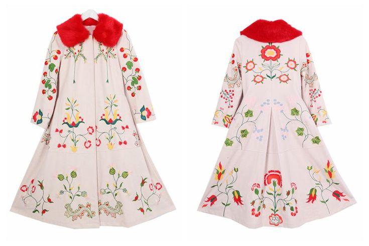 ЛИНЕТТ CHINOISERIE Зима Оригинальный Дизайн Высокого Качества Женщин Вышивка цветы старинные тонкий шерстяной тонкий пальто верхняя одеждакупить в магазине Lynette's Chinoiserie StoreнаAliExpress