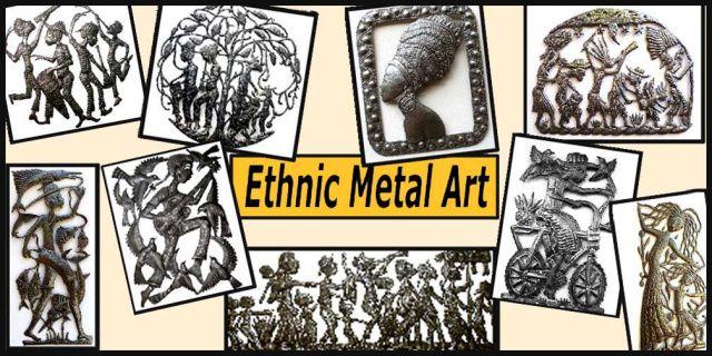 Ethnic art - Haiti Metal art - Haitian Metal Drum Wall Decor - Metal Art - Rural Scenes - Ethnic Art - Haitian Peasant Designs - Steel Drum Metal Art Handcrafted Metal Art,  Recycled Steel Drums - Metal wall hangings.