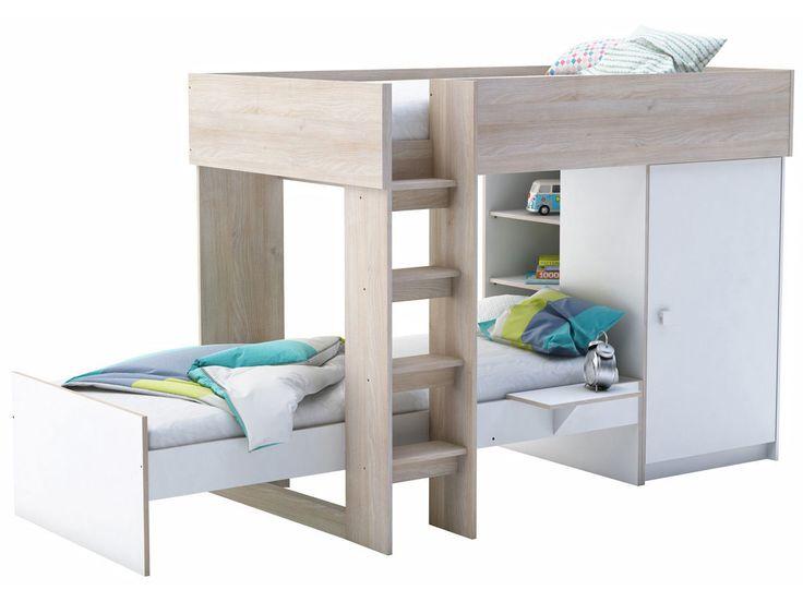 demeyere lit sur lev 90 x 200 cm lit 90 x 200 rangement treno blanc acacia rue du. Black Bedroom Furniture Sets. Home Design Ideas