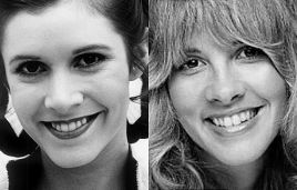 Stevie Nicks and Carrie Fisher are both 5′1″. They both shot to superstardom in 1977 when Fleetwood Mac's Rumours and Star Wars were released, becoming respectively the best-selling album and highest grossing film of all time up to that point.