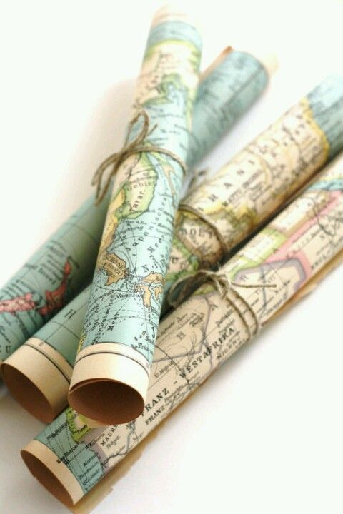 Vintage maps - LOVE wrapped up with twine and put in large glass jar