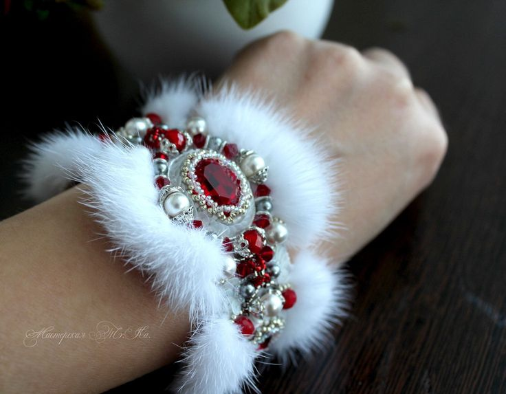 White Mink with red Swarovski Crystal ELEMENTS Exclusive bead embroidered fur cuff bracelet. Fur jewelry, beaded jeweled bracelet cuff. ET by FeltSilkArtGift on Etsy