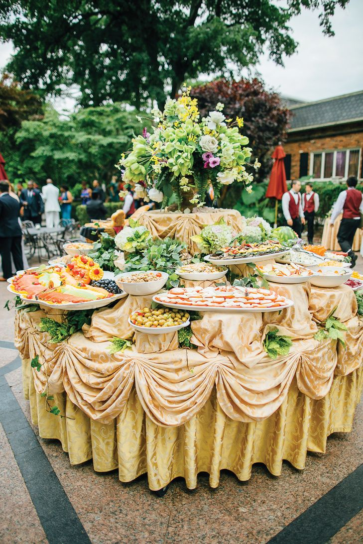 GoldDraped Cuisine Table (With images) Wedding