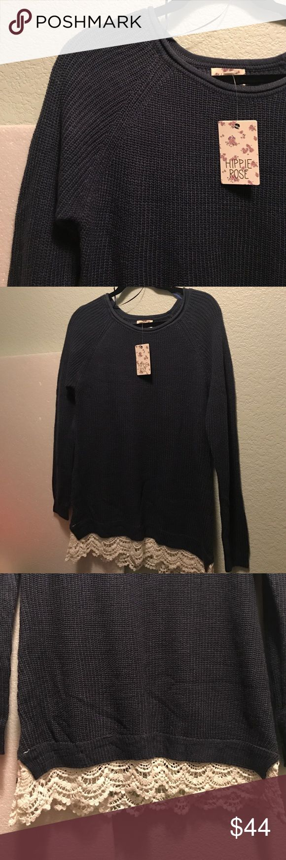 Navy Blue Sweater This is a Navy Blue sweater with lace edging  by Hippie Rose. Brand new with tags. Hippie Rose Sweaters Crew & Scoop Necks
