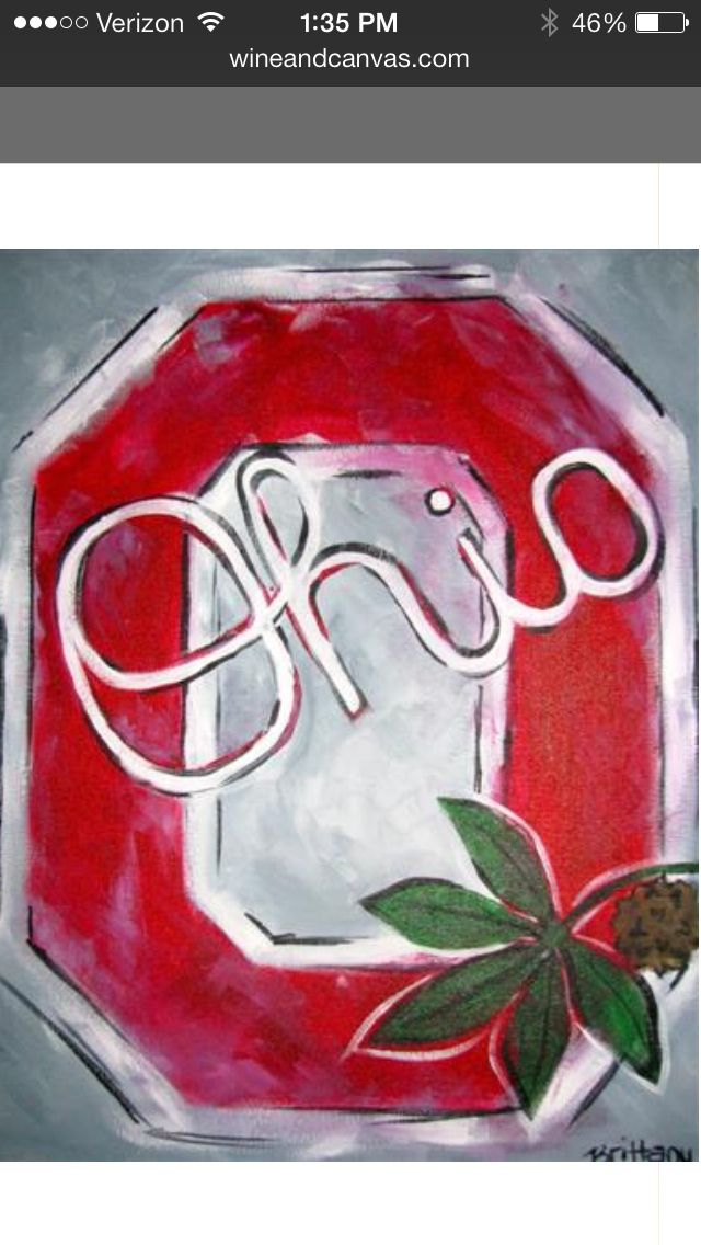 Block o painted at wine canvas columbus the ohio state buckeyes pinterest for Ohio state bedroom paint ideas