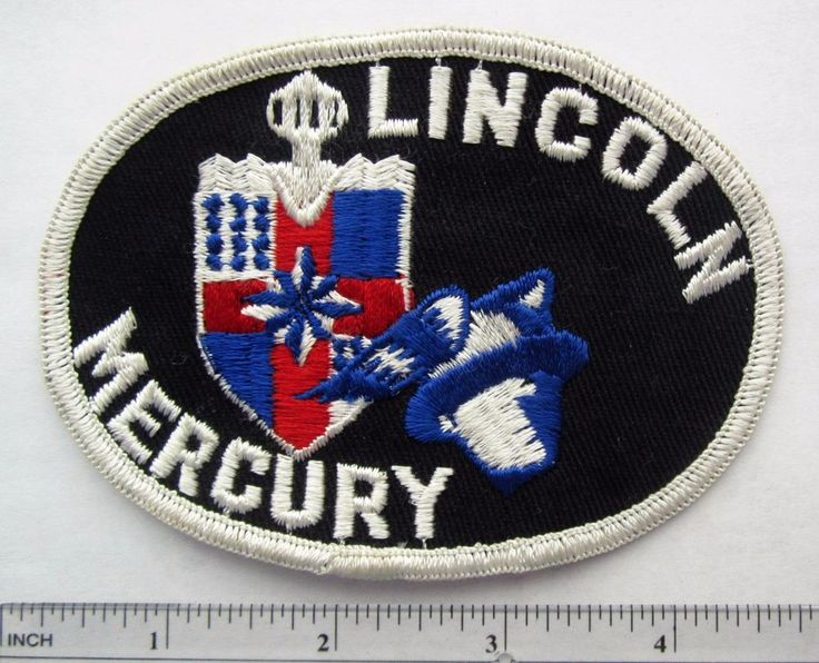 Vintage Original 1960s 1970s Lincoln Mercury Logo Car Uniform Patch White piping