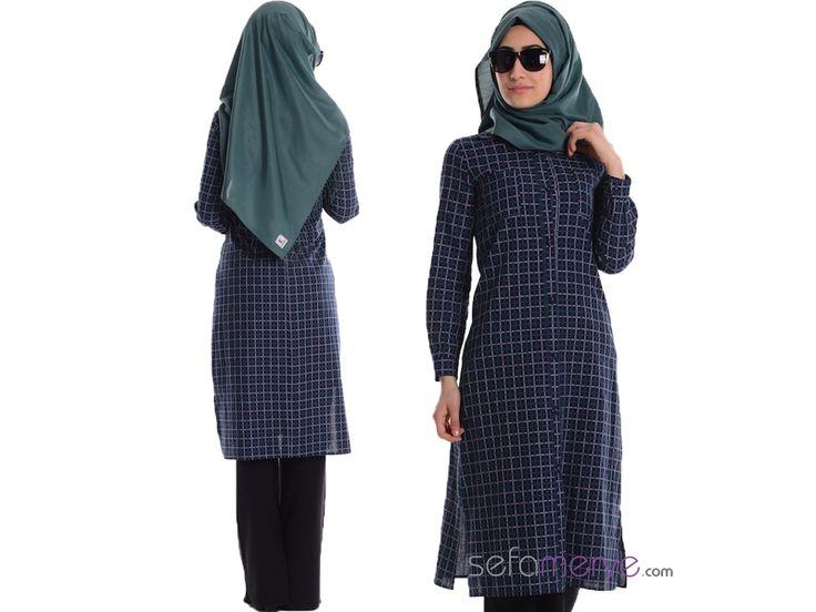 Kareli Uzun Tunik 0795-01 Lacivert #sefamerve #tesetturgiyim #tesettur #hijab #tesettür