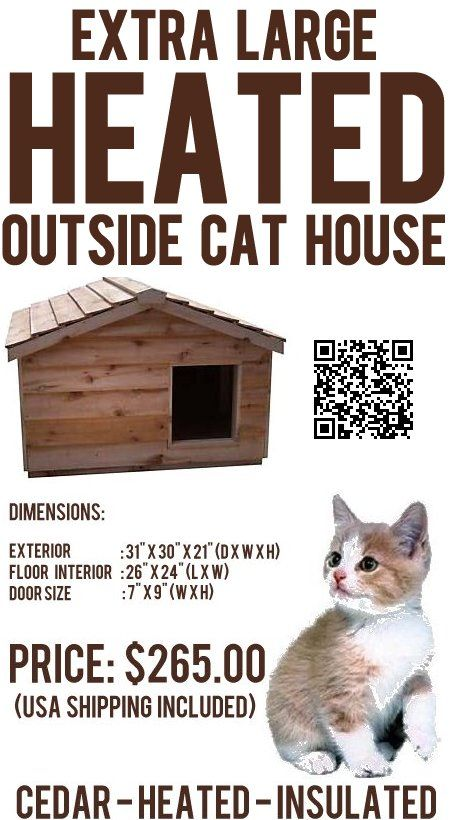 The Extra Large Heated Outside Cat House, roomy enough to house 3 to 4 cats, has been individually hand crafted by expert craftsmen, from Canadian Northern White Cedar, the wood of choice for long-lasting outdoor use.  The extra large heated outdoor cat house has Thermal-Ply insulation, inside the floor, walls and ceiling to keep your cat warm in winter and cool in the summer.  - #outsidecathouse #outdoorcathouse #catoutsidehouse http://www.catbedandtoy.com/outdoorcathouse