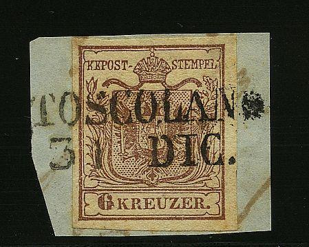 Austria 6 kr. ann. TOSCOLANO / 31 DIC su frammentino. Sassone 8 punti.
