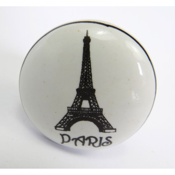 Shabby Restore Paris Eiffel Tower Ceramic Drawer/ Door/ Cabinet Knobs (Pack of 6) (M34), Clear