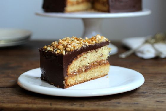 yellow cake filled with dulce de leche and homemade hazelnut praline ...