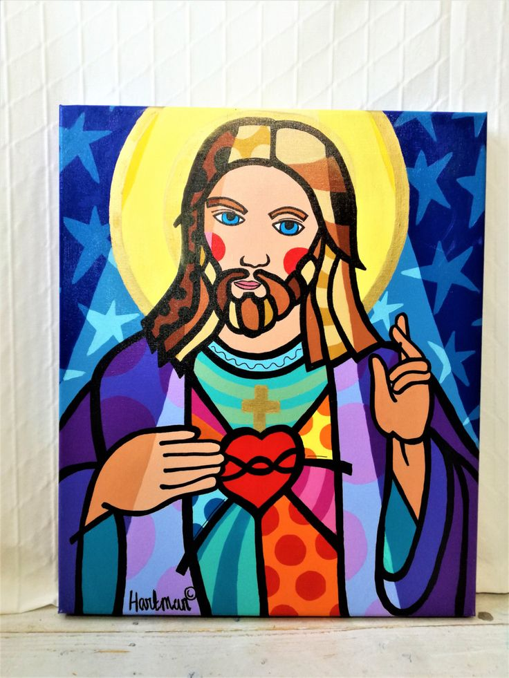 Jesus Painting, Pop Art Painting, Pop Art, Jesus Pop Art, Painting of Jesus, Neo Pop Art, Original Painting, Colorful Pop Art by MevrouwHartman on Etsy