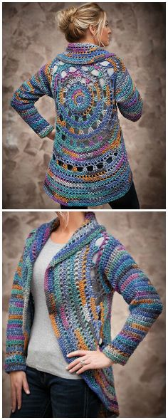 ANNIE'S SIGNATURE DESIGNS: Harbor Lights Circle Jacket Crochet Pattern from Annie's Craft Store. Order here: https://www.anniescatalog.com/detail.html?prod_id=132129&cat_id=468