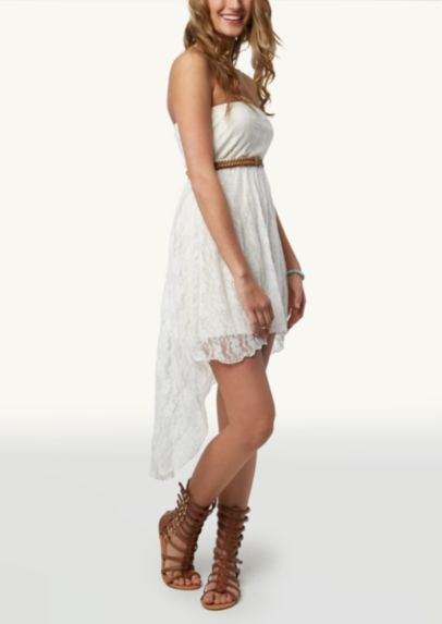 Prefect inexpensive bridesmaids dress for a country rustic wedding, it will look great with the girls cowboy boots..  Lace Belted High Low Dress | High Low | rue21