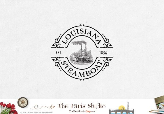 Steamboat Logo Vintage Logo Pay As You Go Custom by TheParisStudio