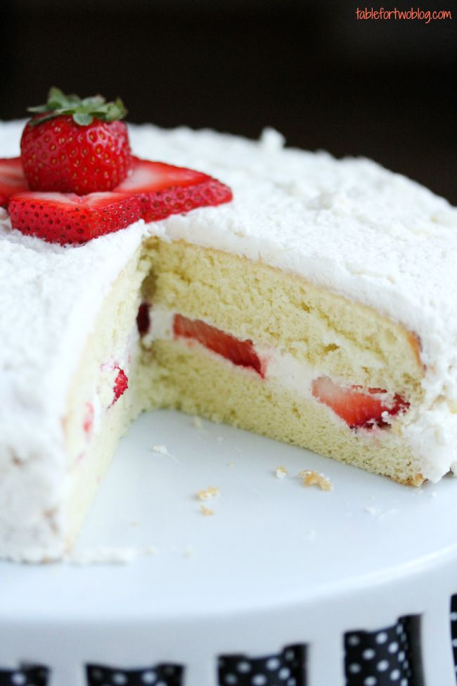 Strawberry Sponge Cake - Table for Two