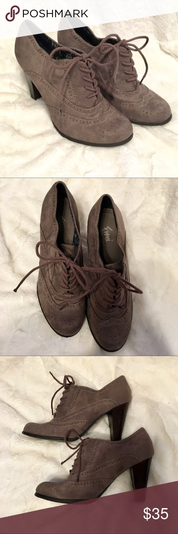 NWOT Gray Oxford Lace Up Booties Heels NWOT Super cute lace up pumps in the most adorable shade of gray. ❤️❤️❤️ Shoes Heeled Boots