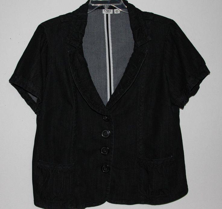 Cato 18/20 Black Denim Jean Short Sleeve Jacket Nice Details #Cato #JeanJacket #Trendy #PlusSize #Fashion