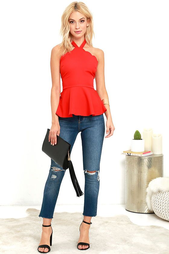 All Pepped Up Red Peplum Top at Lulus.com!