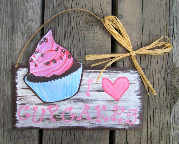 Cupcake Sign  Heart  Wood  Indoor Outdoor by TheBirchTurtleDove, $32.99