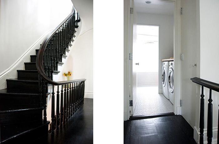 1866 Brownstone. The original battered floors were dyed using a mix of half dark mocha and half black the owner painted the stairs and balusters in high-gloss floor paint.