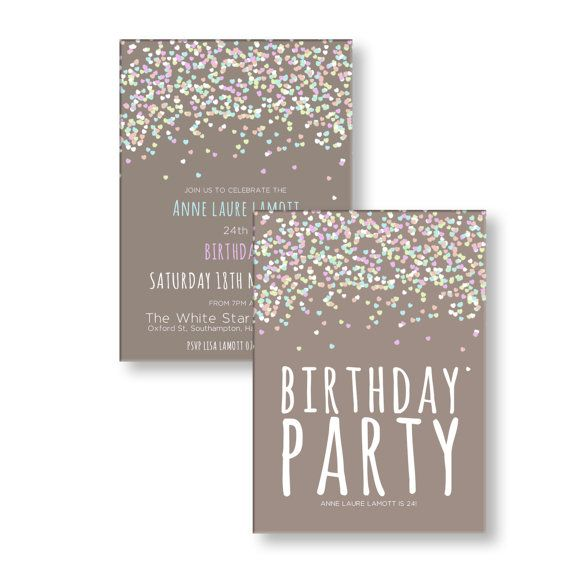 Custom Personalized Adult Birthday Party Invitations Any Age Beautiful Confetti Theme Digital File DIY