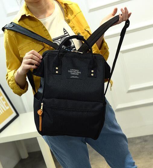 Vintage Black Rucksack School Backpack