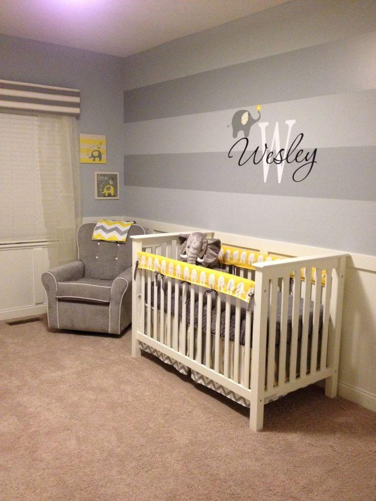 Wesley S Yellow And Gray Elephant Nursery Nursery Accent