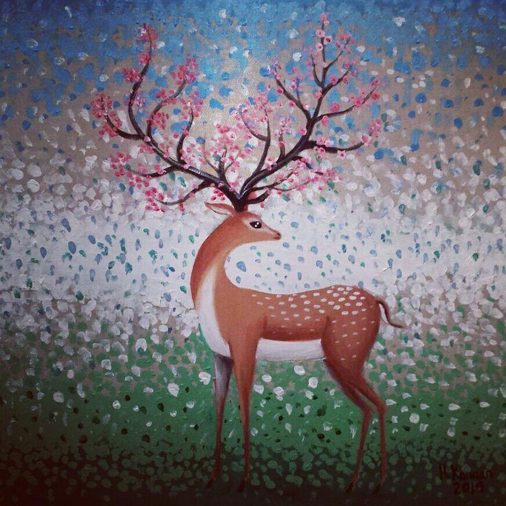 أيل.. بريشتي. Deer, Acrylic on canvas, 60×60cm, by Hamza Kanaan 2014. #deer #art #painting #artist_hamza_kanaan #nature #love #animals #أيل #رسم #فن_تشكيلي #فنون_جميلة #غزال #طبيعة #الفنان_حمزة_كنعان