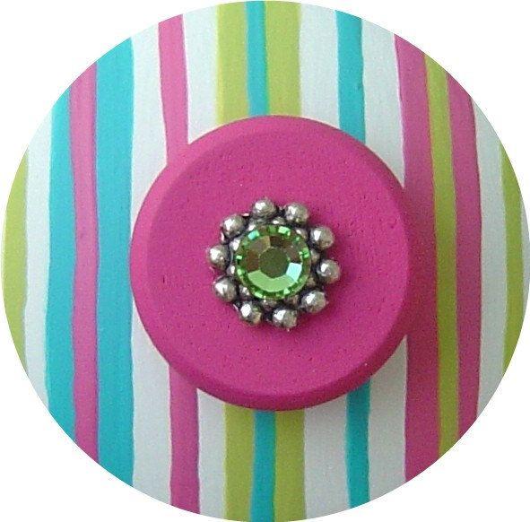 Turquoise+Green+Hot+Pink+STRIPES+Swarovski+by+LisaEverettDesigns,+$8.50