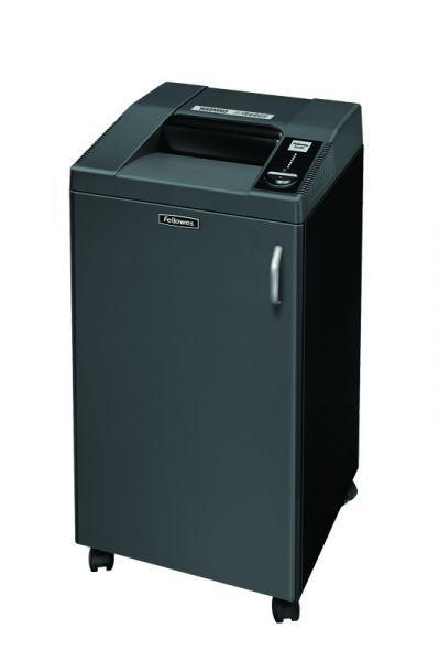 Fellowes 3250C   Wytrzymała i profesjonalna niszczarka do dużego biura powyżej 10 osób. Niszczy jednorazowo 25-27 kartek (70g) na ścinki 4x40 mm Niszczy dokumenty ze zszywkami, z małymi spinaczami (P-4), karty kredytowe (T-4), płyty CD/DVD/Blu-Ray (O-3) Szerokość szczeliny wejściowej 260 mm Elektroniczny start-stop, funkcja cofania Wyjmowany kosz o pojemności 100 litrów Obudowa na kółkach z blokadą Gwarancja: 2 lata na całość urządzenia, 30 lat gwarancji na noże tnące!