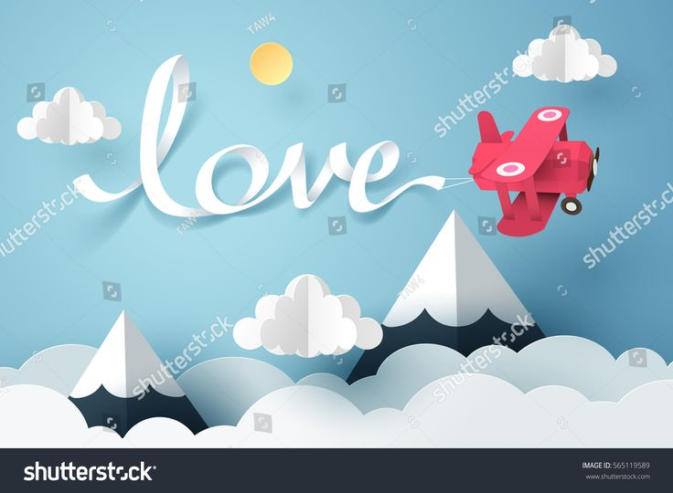 Paper art of love calligraphy and lettering hang with a pink plane flying in the sky, origami and valentines day concept, vector art and illustration.