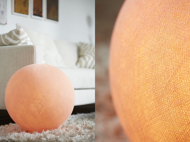 Irislights large ball as a floor lamp. The color is the lovely Salmon Pink.