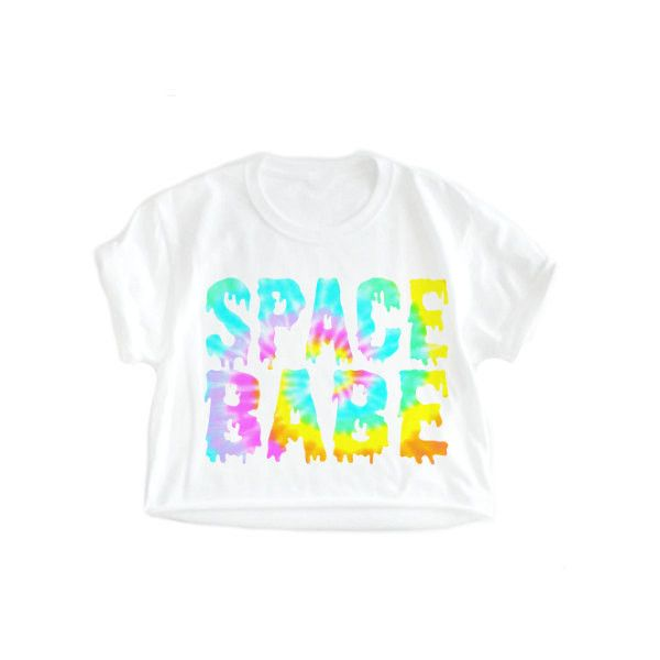 SPACE BABE, alien babe, 90s grunge, alien grunge, kawaii, alien goth,... ($18) ❤ liked on Polyvore featuring tops, plus size crop tops, plus size dressy tops, tie-dye shirts, print crop tops and white button shirt