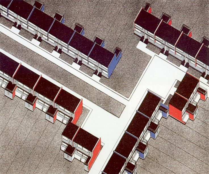 axonometric drawing of the Residential buildings at Torten- Dessau, 1927, by Walter Gropius and Building department of Bauhaus
