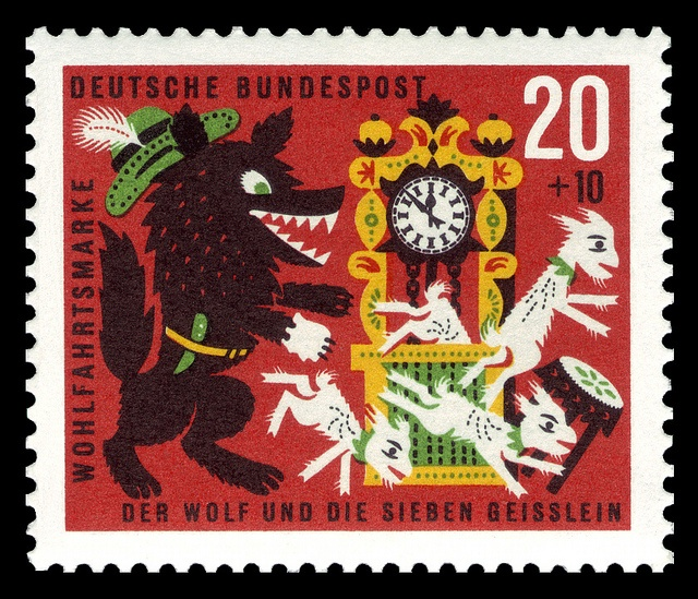 German stamp art features fairy tales of the Brothers Grimm