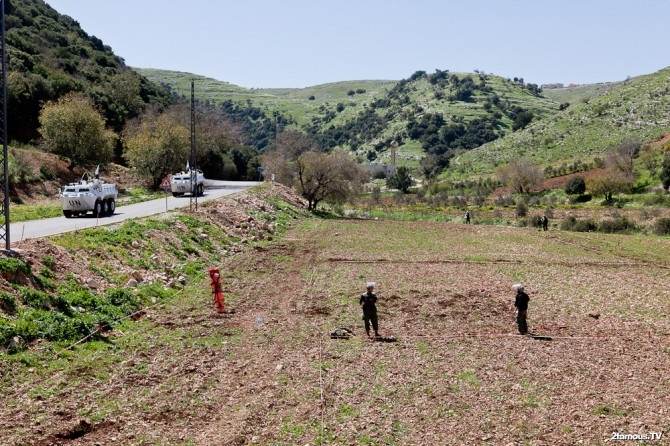 Clearing a land mine field in the south of Lebanon
