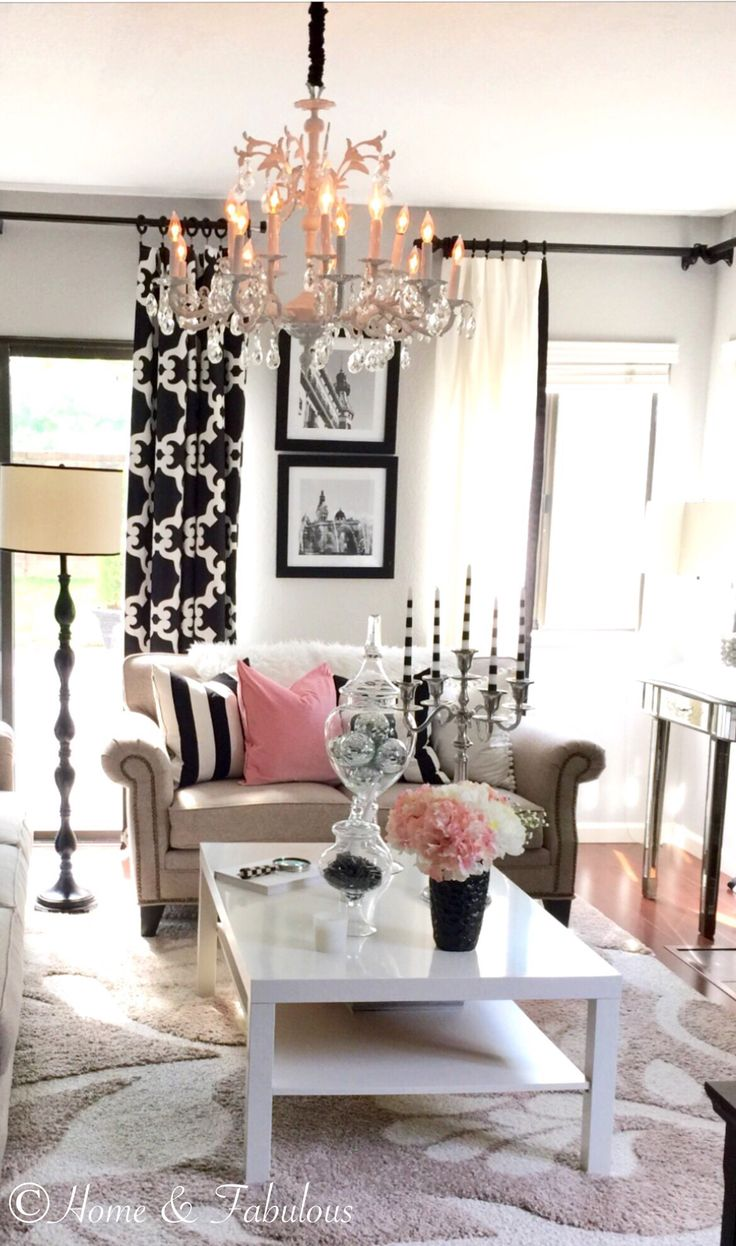 crystal and black accessories from homegoods are perfect for this room sponsored pin - Black White Living Room Decor