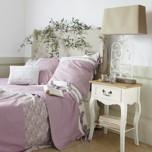 Table de chevet avec tiroir en bois de paulownia crème L 44 cm