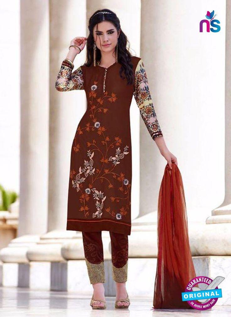 Teazle 2203 Maroon Embroiderd Georgette Designer Suit