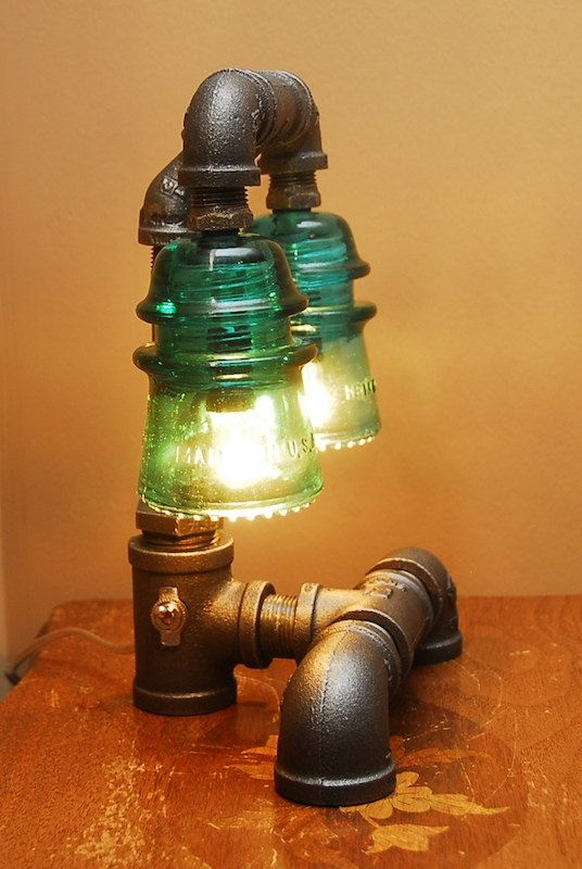 Industrial Style Pipe Lamp with Green Glass by TRoweDesigns