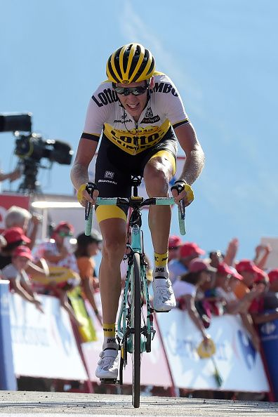 Lotto NL Jumbo's Dutch cyclist Robert Gesink crosses the finish line to win the…