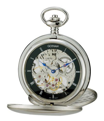 Gotham Mens Silver-Tone Mechanical Pocket Watch with Desktop Stand # GWC18801SB-ST