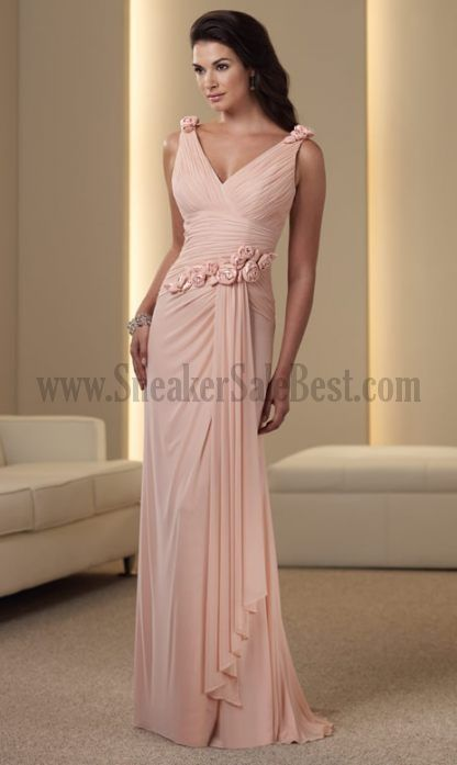Low Priced Dresses For Mother Of The Bride Column Sheath V Neck Straps Flowers Cascading Ruffle Accept Wholesale Wedding Party Dresses