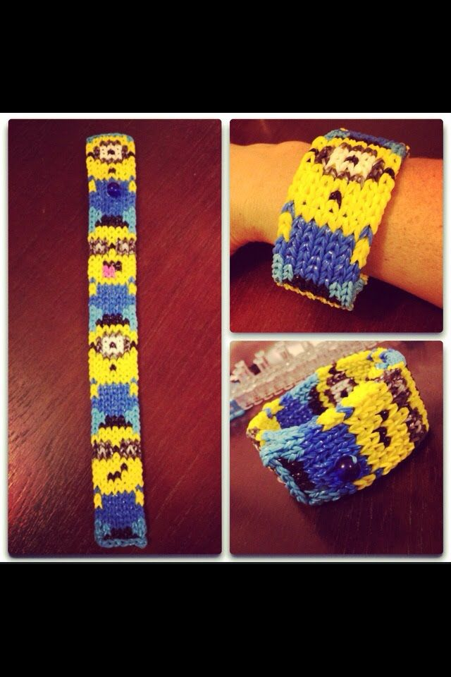 Minions Totem Pole Bracelet Rainbow Loom Mural Pixel Pictures Tutorial