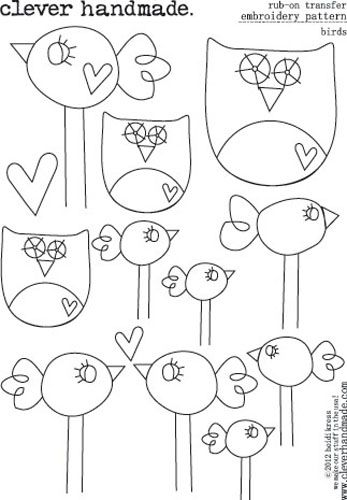 Clever Handmade - Embroidery Patterns - Rub Ons - Birds at Scrapbook.com $2.99