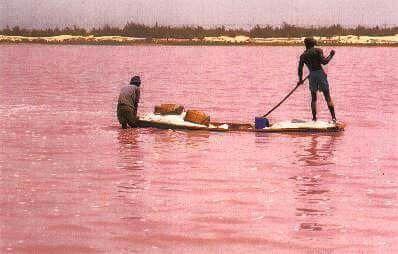El maravilloso lago Rosa o Lago Retba, África.