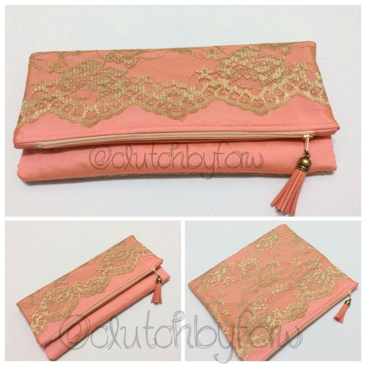 """Made to order foldover clutch bag.  Customer requested a peach colored fabric with lace.  Measurement (unfolded): 11.5"""" by 10"""""""