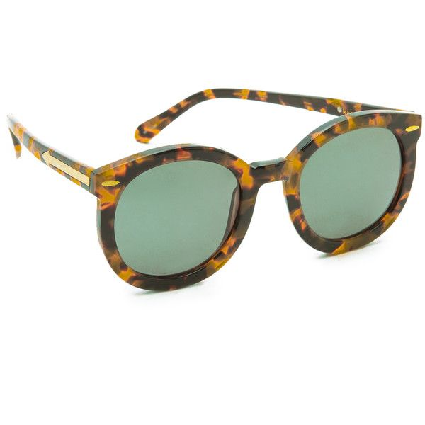 Karen Walker Super Duper Strength Sunglasses (1,070 ILS) ❤ liked on  Polyvore featuring accessories, eyewear, sunglasses, karen walker, crazy  tort, tortoise ... 46cd769f4e