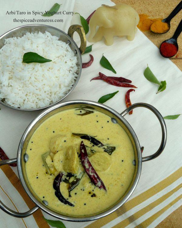 Arbi/ Baby Taro in Spicy Yoghurt Curry (Chembu Moru Curry)